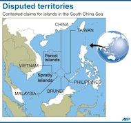 Map showing the disputed Spratly and Parcel Islands located in the South China Sea