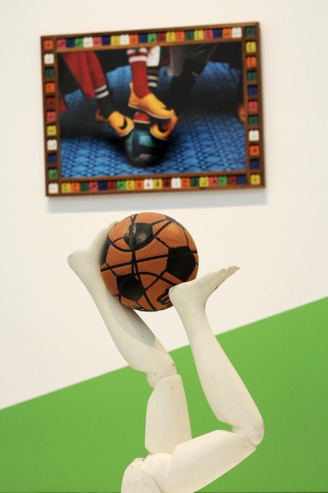 """Free Throw"" by Caroll is seen at the exhibition under construction, ""Futbol: The Beautiful Game"", at the Los Angeles County Museum of Art in Los Angeles"