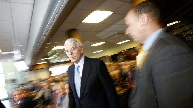 Britain's former Conservative Prime Minister John Major arrives to make a campaign speech at a sports club in Solihull, central England
