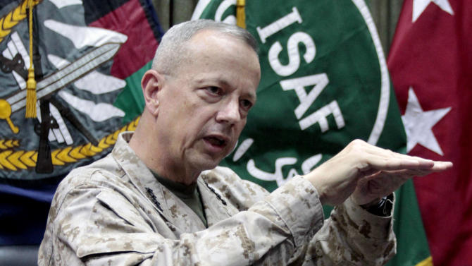 "FILE - This July 22, 2012, file photo shows U.S.  Gen. John Allen, top commander of the NATO-led International Security Assistance Forces (ISAF) and U.S. forces in Afghanistan, during an interview with The Associated Press in Kabul, Afghanistan. The Pentagon says Gen. John Allen is under investigation for alleged ""inappropriate communications"" with Jill Kelley, the woman who is said to have received threatening emails from Paula Broadwell, the woman with whom former CIA Director David Petraeus had an extramarital affair. Defense Secretary Leon Panetta says the FBI referred the matter to the Pentagon on Sunday, Nov. 12, 2012. Panetta says he ordered a Pentagon investigation of Allen on Monday. (AP Photo/Musadeq Sadeq, File)"