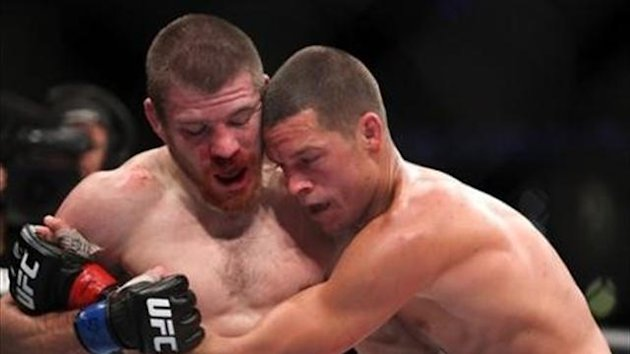 Nate Diaz, right, in action against Jim Miller during their lightweight bout at UFC on Fox at the Izod Center in E. Rutherford, NJ on Saturday, May 5, 2012