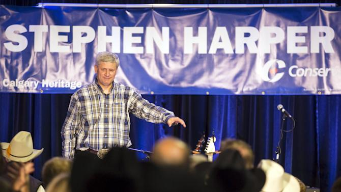 Canada's PM Harper addresses supporters at his annual Stampede breakfast during the Calgary Stampede in Calgary, Alberta