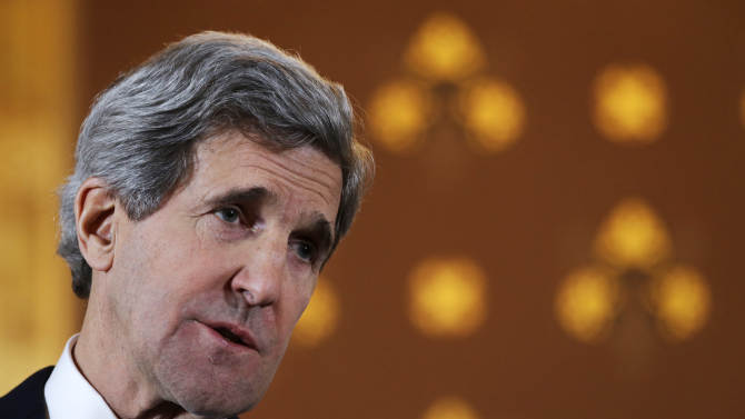 U.S. Secretary of State John Kerry speaks at a news conference with British Foreign Secretary William Hague, not pictured, at the Foreign and Commonwealth Office in London on Monday, Feb. 25, 2013, during Kerry's first official trip overseas as secretary. (AP Photo/Jacquelyn Martin, Pool)