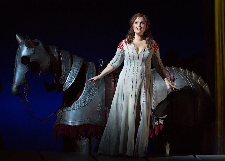 "In this April 17, 2013 photo provided by the Metropolitan Opera, Katarina Dalayman sings the role of Brunnhilde in Wagner's ""Gotterdammerung,"" during a dress rehearsal at the Metropolitan Opera in New York. (AP Photo/Metropolitan Opera, Marty Sohl)"