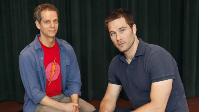 "Actors Patrick Breen, left, who plays Ned, and Luke MacFarlane, from the tv show ""Brothers & Sisters,"" who plays Ned's partner, Felix, pose for a photograph at Arena Stage in Washington, on Tuesday, June 5, 2012. The actor's are featured in Larry Kramer's historic play, ""The Normal Heart,"" which won the Tony Award in 2011 for best play revival, at Arena Stage. (AP Photo/Jacquelyn Martin)"