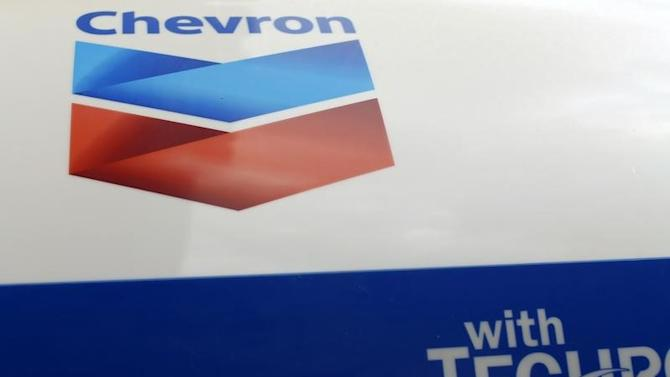 A Chevron gas station sign is pictured at one of their retain gas stations in Cardiff