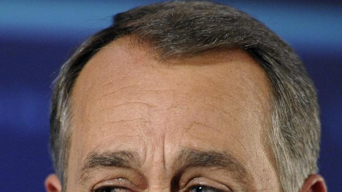 FILE This Tuesday, Nov. 2, 2010 file photo shows House Republican leader John Boehner of Ohio with tears in his eyes as he celebrates the GOP's victory that changes the balance of power in Congress and will likely elevate him to speaker of the House, during an election night gathering hosted by the National Republican Congressional Committee at the Grand Hyatt hotel in Washington. It seems a strange sight: The president of the United States, sometimes called the most powerful person in the world, breaking down in tears thanking campaign workers for their tireless _ and ultimately successful _ work on his behalf. But Barack Obama isn't the only world leader unashamed or unable to avoid being seen crying in public. As Speaker of the House, Republican John Boehner holds one of the most powerful positions in the U.S. government _ and he cries so frequently that Twitter jokesters have taken to calling him the weeper of the house. He tears up easily, particularly when talking about the American dream.  (AP Photo/Cliff Owen)