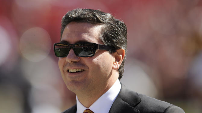 """FILE - In this Oct. 12, 2008 file photo, Washington Redskins owner Daniel Snyder is seen before the St. Louis Rams NFL football game in Landover, Md. Snyder says it's time to put some money behind his claim that his team's nickname honors Native Americans. Snyder said Monday March 24, 2014, he's creating a foundation to assist American Indian tribes, even as some in that community continue to assert that the name """"Redskins"""" is offensive. (AP Photo/Nick Wass, File)"""