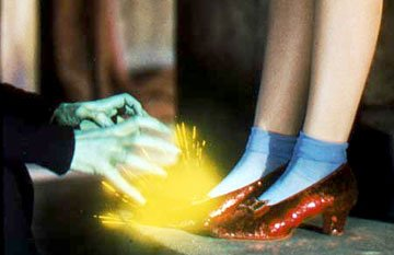 Dorothy's ruby slippers in Warner Home Entertainment's DVD release of The Wizard of Oz