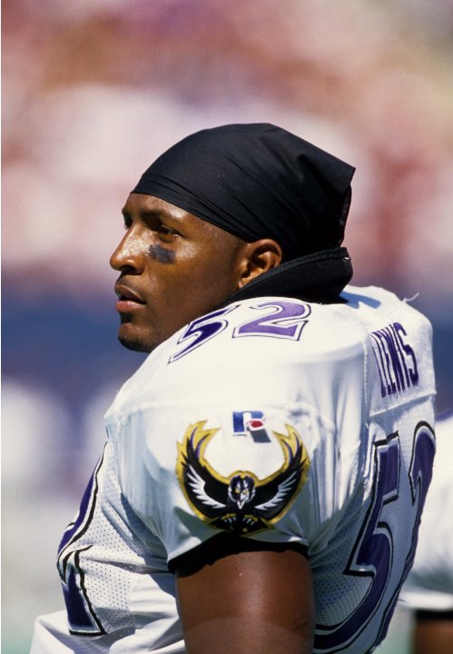 Aug 10, 1996; E. Rutherford, NJ, USA; FILE PHOTO; Baltimore Ravens linebacker Ray Lewis (52) on the sideline against the New York Giants at Giants Stadium. Mandatory Credit: USA TODAY Sports