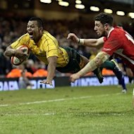 Kurtley Beale, left, scored the match-winning try