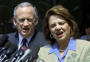 File photo of John and Patsy Ramsey addressing the media after completing two days of police interviews regarding the death of their daughter JonBenet Ramsey at their lawyer's office in Atlanta