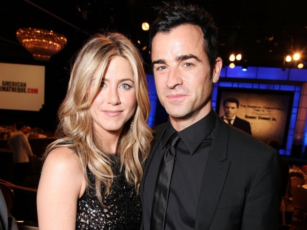 Jennifer Aniston and Justin Theroux smile at American Cinematheque's 2011 Award Show Honoring Robert Downey Jr. at The Beverly Hilton Hotel in Beverly Hills on October 14, 2011 -- Getty Images