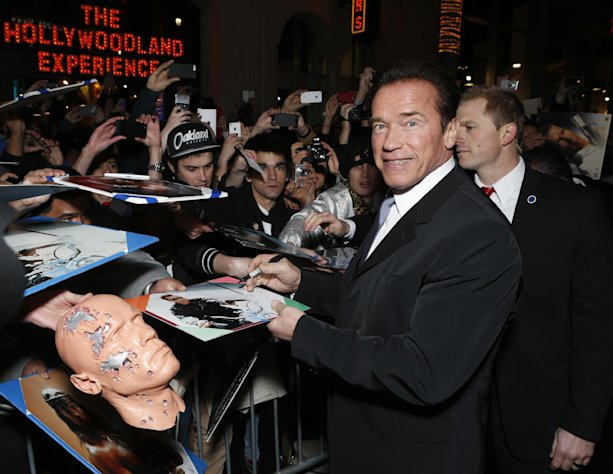 FILE - In this Jan. 14, 2013 file photo, Arnold Schwarzenegger attends the LA premiere of &quot;The Last Stand&quot; at Grauman&#39;s Chinese Theatre, in Los Angeles. (Photo by Todd Williamson/Invision/AP, File)
