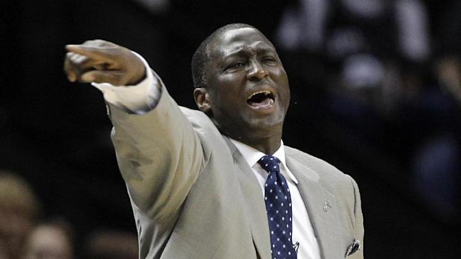 Utah Jazz head coach Tyrone Corbin gives direction to his players during the first quarter of Game 1 of a first-round NBA basketball playoff series against the San Antonio Spurs, Sunday, April 29, 2012, in San Antonio. (AP Photo/Eric Gay)