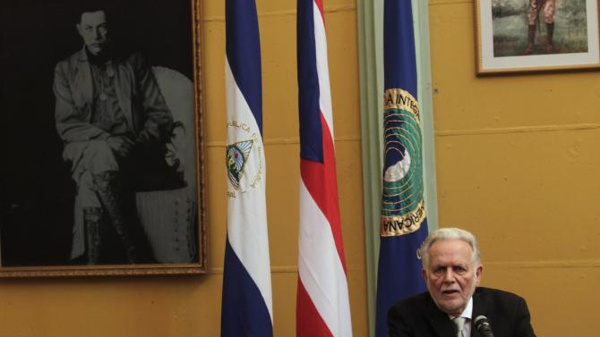 Puerto Rican Independence Party leader Ruben Berrios speaks during a news conference in Managua