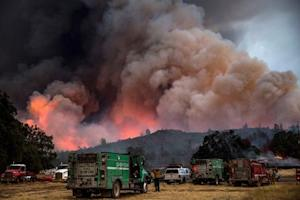 File photo of firefighters watching the Rocky Fire advance in Lake County