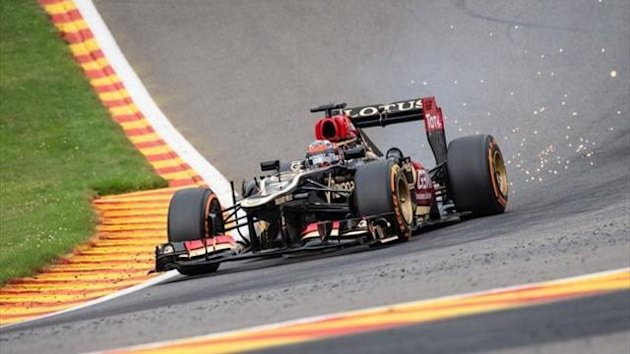 Lotus driver Kimi Raikkonen of Finland steers his car during the third free practice session ahead of the Belgian Formula One Grand Prix in Spa-Francorchamps, Belgium, Saturday, Aug. 24, 2013.