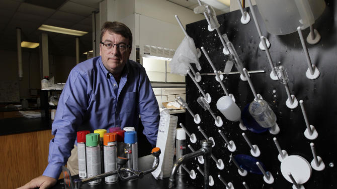 """This Tuesday, Sept. 11, 2012 photo shows Miles Wright, CEO of Xanofi, in his laboratory in Raleigh, N.C. Launched in September 2010, the company is preparing to market a liquid-based nanofiber production process. Wright, a registered independent, chuckles at a new GOP ad calling this period """"the worst economic recovery America has ever had."""" """"The fact is, it's still a recovery,"""" he says. """"Innovation hasn't stopped. People's efforts to commercialize technology, to open up a service business, while it gets harder because of lack of capital, I don't think people have stopped hoping and dreaming. And a lot of people have had success."""" Wright says a lot of the job growth is happening in small companies like his """"that maybe go a little under the radar."""" But the point is, it's happening. (AP Photo/Gerry Broome)"""