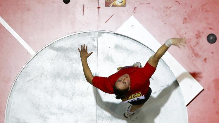 Marton of Hungary competes in the women's shot put qualification event at the world indoor athletics championships at the ERGO Arena in Sopot