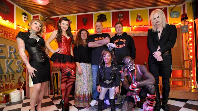 "IMAGE DISTRIBUTED FOR AMC - From left, cast members Brianna Belladonna, Asia Ray, Danielle Ray, Todd Ray, Ali Chapman McCarthy, Phoenix Ray, Creature, and Morgue pose for a photo at a private viewing of AMC's ""Freakshow"", on Thursday, Jan. 17, 2013 in Venice, Calif. (Photo by John Shearer/Invision for AMC/AP Images)"