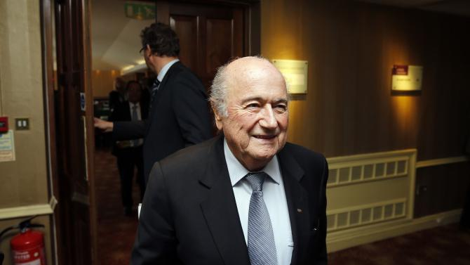 Blatter is seen at the AGM of the IFAB being held in the Culloden Hotel near Belfast