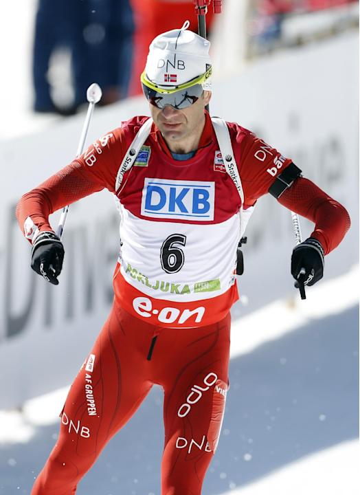 Norway's Ole Einar Bjoerndalen competes in the men's 12.5km pursuit at the biathlon World Cup competition in Pokljuka, Slovenia, Saturday, March 8, 2014