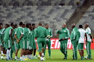 The Nigerian squad during a training session in Belo Horizonte, Brazil on June 16, 2013. Captain Vincent Enyeama said that the row over bonuses that delayed the squad's arrival at the Confederations Cup had not been resolved, but the players were putting it to the back of their minds