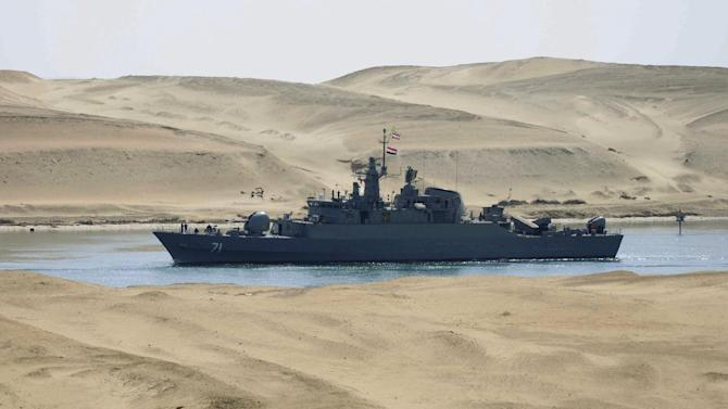 FILE - In this Tuesday, Feb. 22, 2011 file photo, the Iranian navy frigate IS Alvand passes through the Suez Canal at Ismailia, Egypt. Iran once saw the Arab Spring uprisings in the Arab world as a prime opportunity, hoping it would open the door for it to spread its influence in countries whose autocratic leaders long shunned them. But it is finding the new order no more welcoming. Egypt is a prime example. Egypt has sporadically looked more friendly toward Iran since the ouster of Hosni Mubarak 16 months ago, and the rise of the Islamists here fueled the expectations of Tehran's clerical regime that it could make inroads. (AP Photo, File)