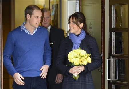 Britain's Prince William leaves the King Edward VII hospital with his wife Catherine, Duchess of Cambridge, London December 6, 2012. Prince William's pregnant wife Kate left the King Edward VII hospital in central London on Thursday where she had spent four days being treated for acute morning sickness. REUTERS/Paul Hackett