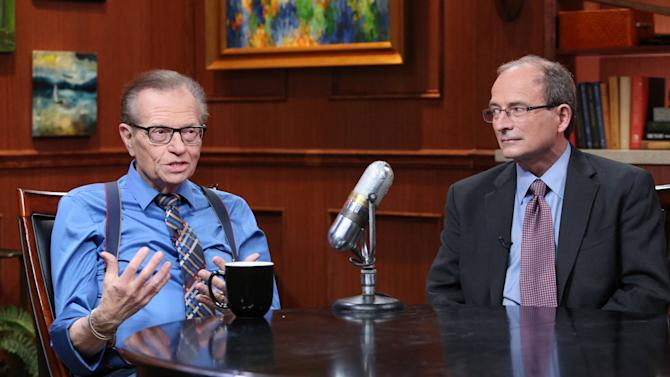 Larry King, Larry King Cardiac Foundation (LKCF), left, and Robert Superko, M.D., Quest Diagnostics (NYSE: DGX), announce a partnership to help improve access to cardiac health care for individuals with with heart disease on Fri., Feb. 8, 2013 in Glendale, Calif. (Photo by Casey Rodgers/Invision for Larry King Cardiac Foundation (LKCF) and Quest Diagnostics (NYSE: DGX)/AP Images)