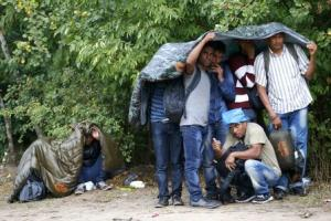 Migrants from Syria use sleeping bags to protect themselves from the rain as they rest on the side of a road after crossing the border illegally from Serbia, near Asotthalom