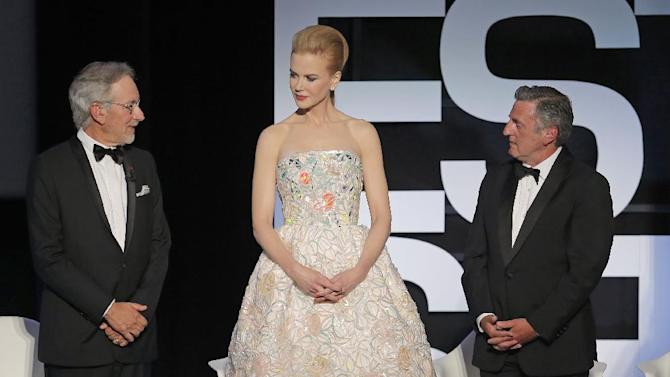 From left, director and jury president Steven Spielberg, actress Nicole Kidman and actor Daniel Auteuil attend the opening ceremony ahead of the screening of The Great Gatsby at the 66th international film festival, in Cannes, southern France, Wednesday, May 15, 2013. (AP Photo/Francois Mori)