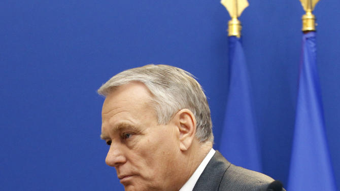 French Prime Minister Jean Marc Ayrault is seen after making a statement on the Arcelor Mittal situation, at the Hotel Matignon in Paris, Friday Nov. 30, 2012. Steelmaker ArcelorMittal will invest 180 million euros in its Florange steelworks in northern France under a deal with the government to save jobs at two shuttered blast furnaces.(AP Photo/Remy de la Mauviniere)