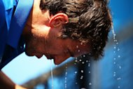 SYDNEY, AUSTRALIA - JANUARY 08: Tommy Robredo of Spain pours a bottle of water over his head due to extreme heat in his first round match against John Millman of Australia during day three of Sydney International at Sydney Olympic Park Tennis Centre on January 8, 2013 in Sydney, Australia. (Photo by Matt King/Getty Images)