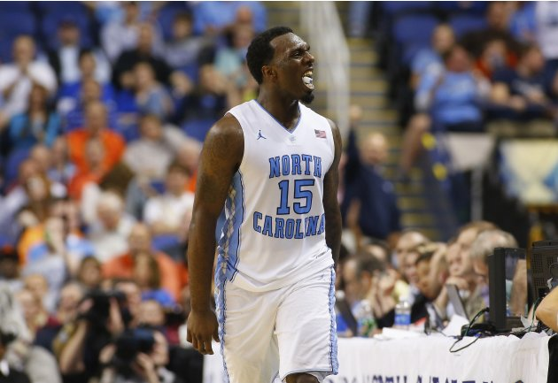 North Carolina Tar Heels' Hairston reacts after making basket against Florida State Seminoles during ACC Championship college basketball game in Greensboro