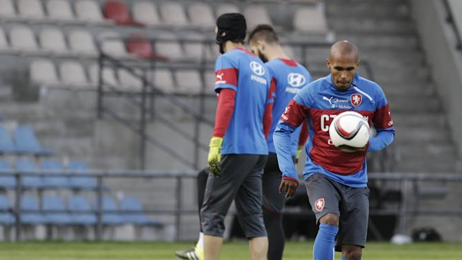Czech Republic's soccer player Gebre Selassie attends training session ahead of their Euro 2016 qualifying soccer match against Latvia in Riga