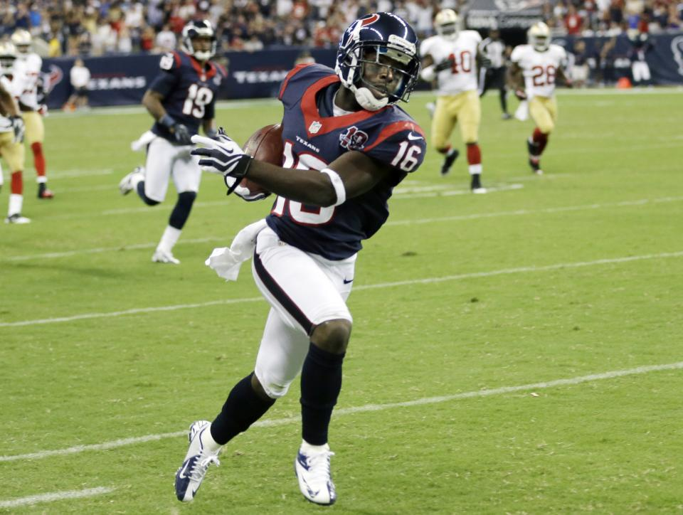 Houston Texans' Trindon Holliday (16) is all alone as he runs down the sidelines on his way to a touchdown against the San Francisco 49ers in the fourth quarter an NFL preseason football game Saturday, Aug. 18, 2012, in Houston. (AP Photo/David J. Phillip)