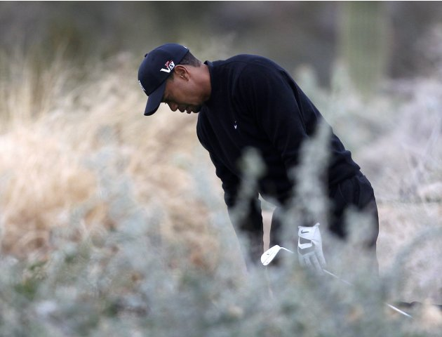 Woods reacts in 12th tee against Howell at the WGC-Accenture Match Play golf in Marana, Arizona
