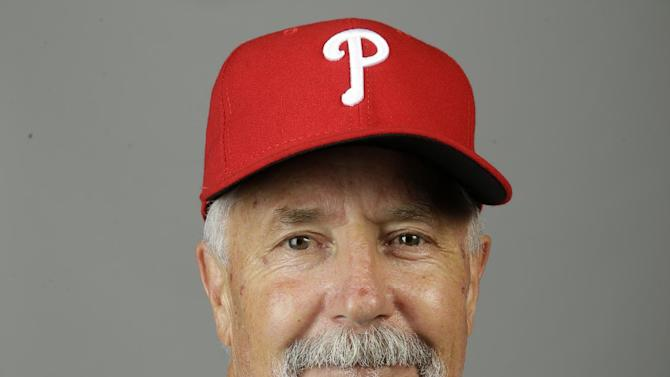 This is a 2015 photo of coach Bob McClure of the Philadelphia Phillies baseball team. This image reflects the Philadelphia Phillies active roster as of Friday, Feb. 27, 2015, when this image was taken at spring training in Clearwater, Fla. (AP Photo/Lynne Sladky)