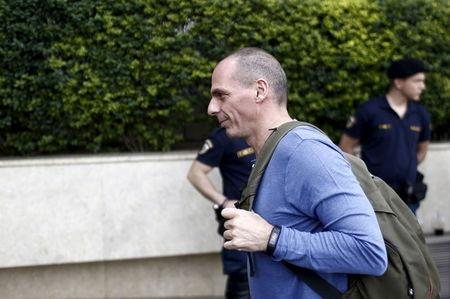 Greek Finance Minister Yanis Varoufakis arrives to attend a central committee of leftist Syriza party in Athens