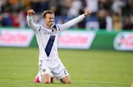 LA Galaxy's David Beckham celebrates during the 3-1 win over Houston Dynamo