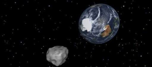 El asteroide 2012 DA 14 y la Tierra, en una ilustracin divulgada el pasado 8 de febrero por la NASA. La agencia espacial estadounidense est controlando la trayectoria de un gran asteroide, que debera acercarse a la Tierra este viernes y convertirse en la mayor aproximacin jams pronosticada para un objeto tan grande. (AFP/Nasa/JPL Caltech | ho)