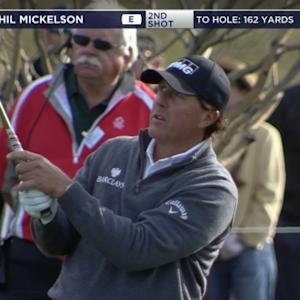 Phil Mickelson approach to within 5 feet yields birdie at Waste Management