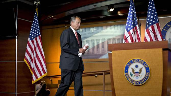 """House Speaker John Boehner of Ohio arrives to speak to reporters on Capitol Hill in Washington, Thursday, Nov. 29, 2012, after private talks with Treasury Secretary Timothy Geithner on the fiscal cliff negotiations. Boehner said no substantive progress has been made between the White House and the House"""" in the past two weeks.  (AP Photo/J. Scott Applewhite)"""