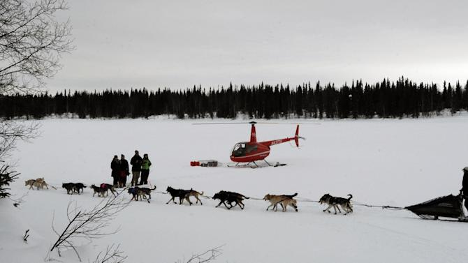 Jessie Royer leaves the Finger Lake checkpoint in Alaska during the Iditarod Trail Sled Dog Race on Monday, Mar. 4, 2013. (AP Photo/The Anchorage Daily News, Bill Roth)