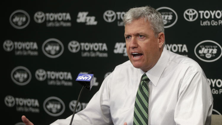 New York Jets head coach Rex Ryan speaks during a news conference Tuesday, Jan. 8, 2013 in Florham Park, NJ.  (AP Photo/Seth Wenig)