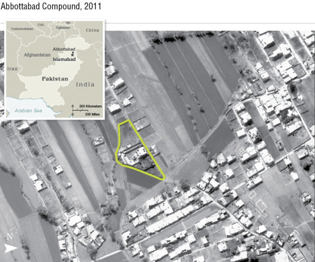 This undated aerial handout image provided by the CIA shows the Abbottabad compound in Pakistan where American forces in Pakistan killed Osama bin Laden, the mastermind behind the Sept. 11, 2001 terro