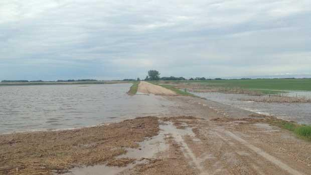 Heavy rainfall washed out this road in the Rural Municipality of Albert over the weekend. Seven roads in the area were closed as a result of the flash flooding.