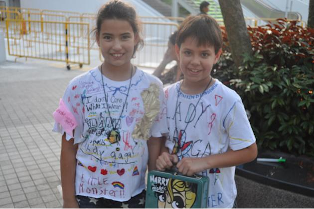 Siblings India and James and their customized Gaga t-shirts